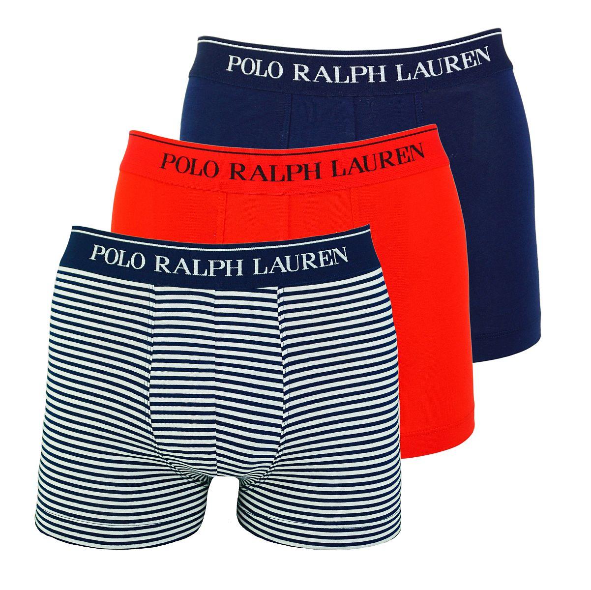 Ralph Lauren 3er Pack Boxershorts Trunks Spring1UDW RED/NAVY STRIPE/NAVY W18-US1