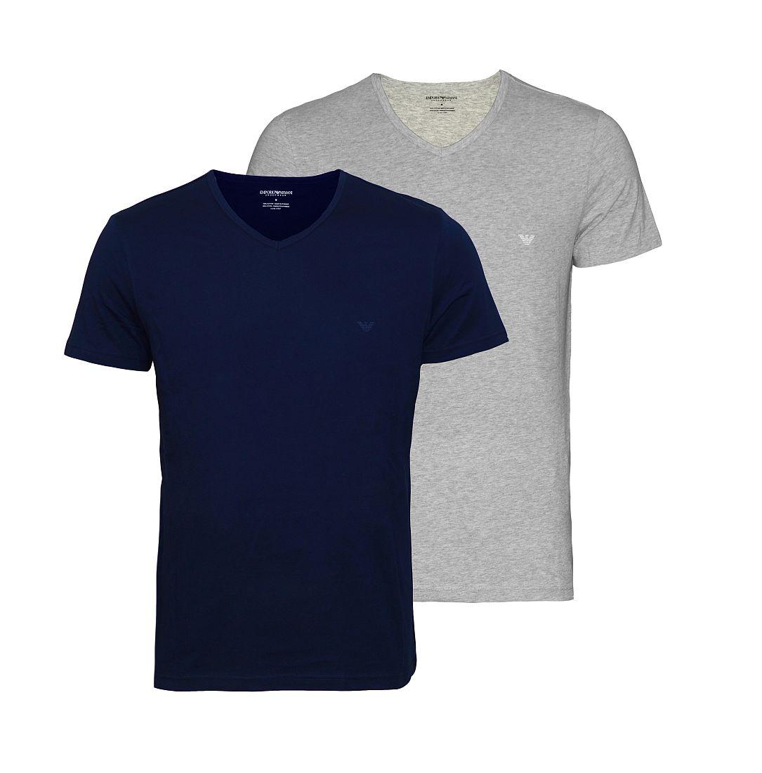 EMPORIO ARMANI 2er Pack Shirt T-Shirt navy grau V-Ausschnitt CC722 111648 15935 HW16