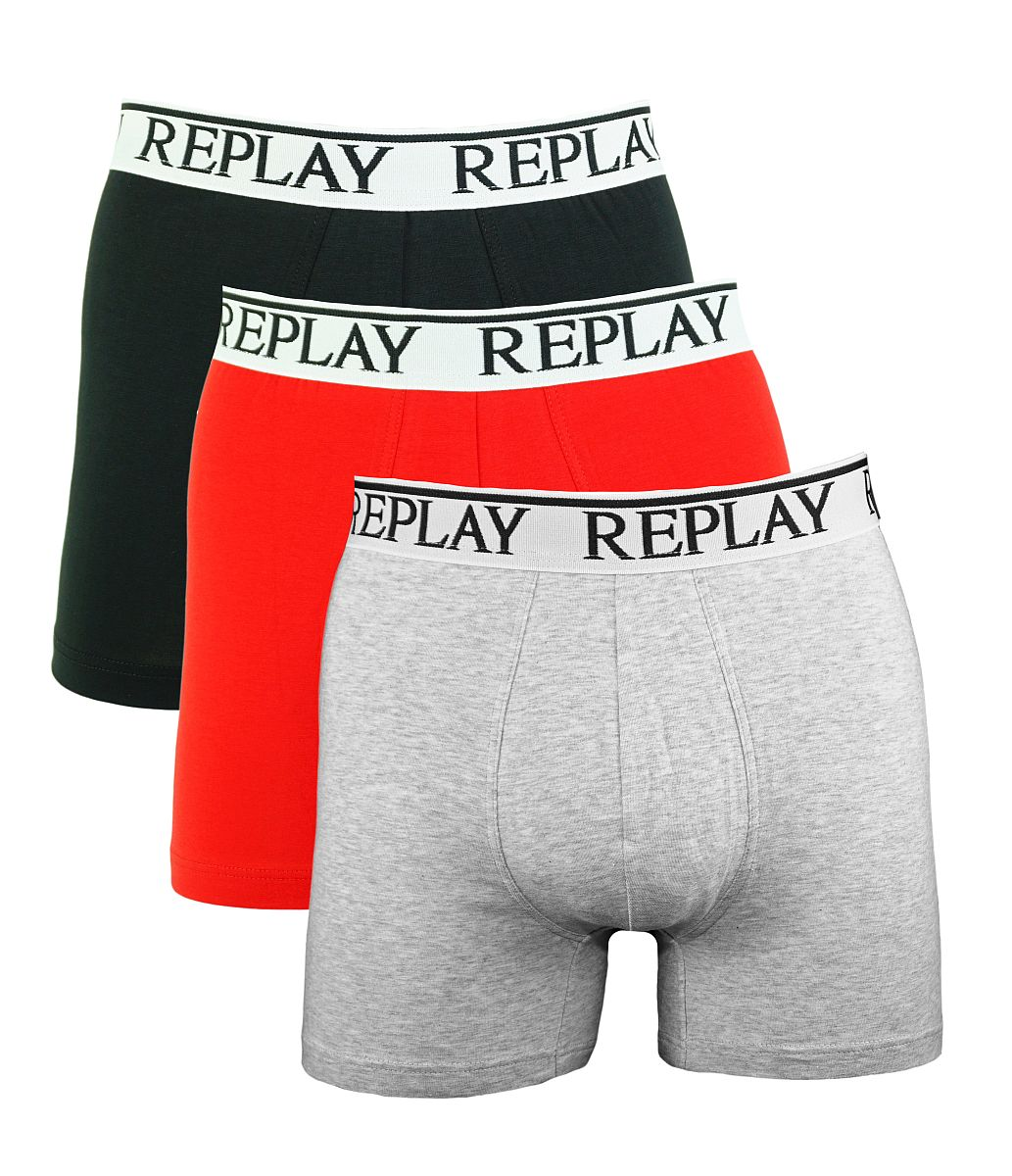 Replay 3er Pack Shorts Boxershorts M605001 E58 schwarz, rot, grau W18-RY1