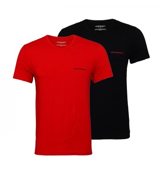 Emporio Armani 2er Pack T-Shirt V-Neck 111849 9A717 60020 rot schwarz SS19-EAT1