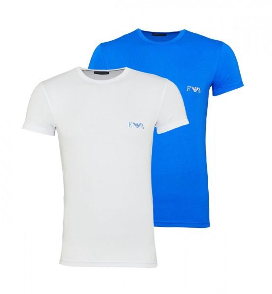 Emporio Armani 2er Pack T-Shirts Rundhals 111670 9P715 14210 BIANCO/ONDA W19-EA2