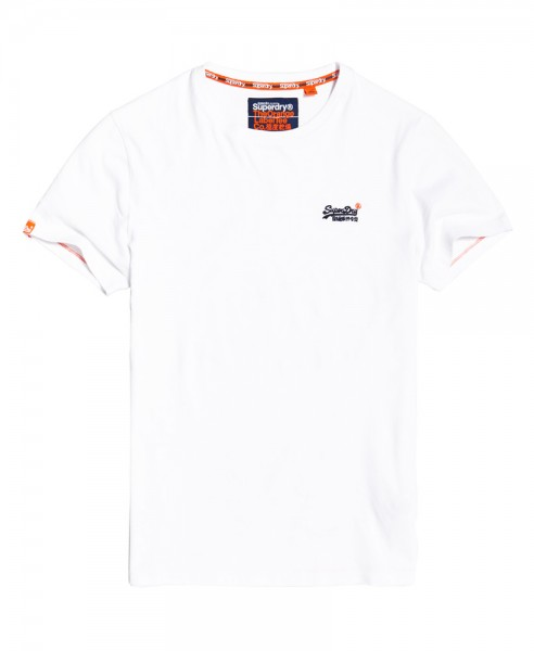 Superdry T-Shirt Orange Label Vntge Emb Rundhals M10003NS Optic White 26c WJ19-SDT1