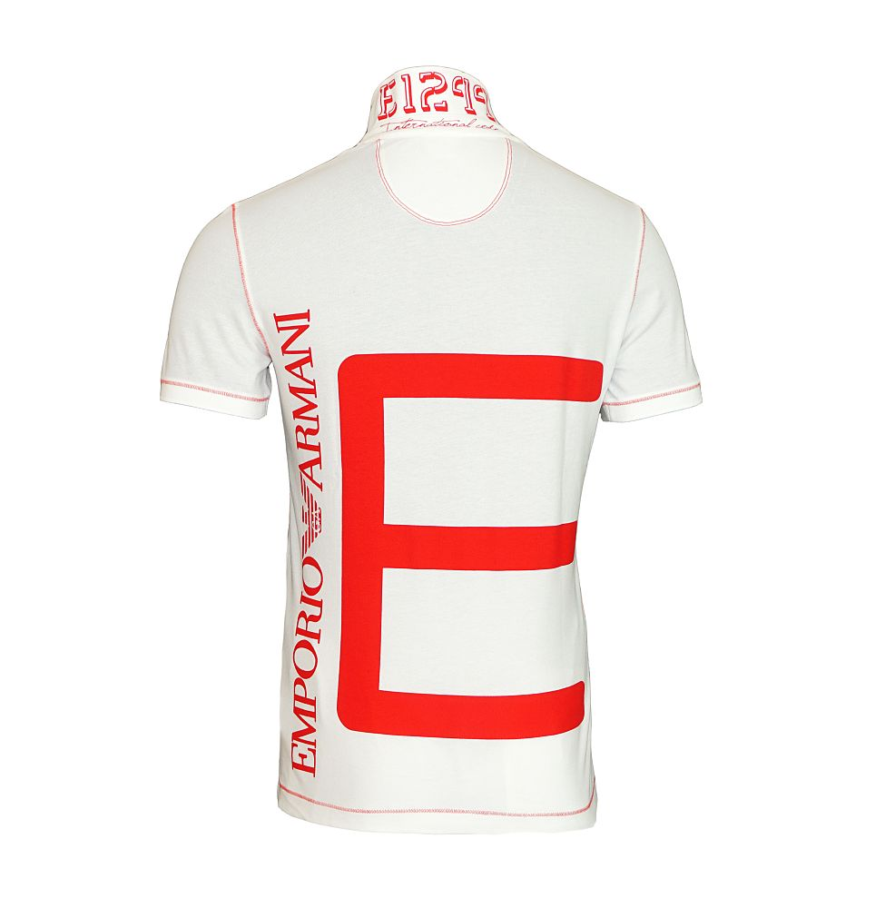 EA7 EMPORIO ARMANI Shirt T-Shirt Poloshirt MAN'S KNIT POLO weiss, rot 273937 6P283 00010