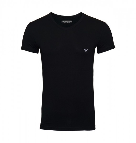 Emporio Armani T-Shirt V-Ausschnitt 110810 CC735 00020 black WF19-EAT4
