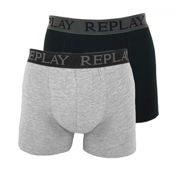 Replay 2er Pack Boxer Shorts Unterhosen I101009-V001 N088 grey, black WF19-RPT2