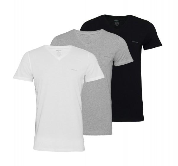 Diesel 3er Pack T-Shirts Jake V-Neck OAALW 01 schwarz, grau, weiss SS19-DS1