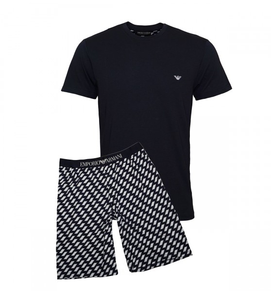 Emporio Armani Pyjama Shirt + Hose kurz 111360 9P567 57935 MARINE SS19-EAL1