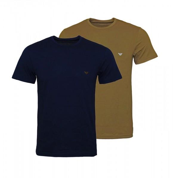 Emporio Armani 2er Pack T-Shirts Rundhals 111267 9P722 58635 navy, braun FS19-EAT2