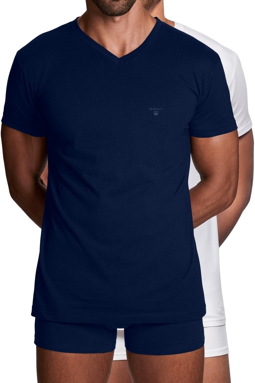 Gant 2er Pack Basic T-Shirts mit V-Ausschnitt 2118 NAVY / WHITE SH18-GT1