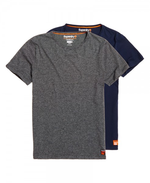 Superdry Laundry T-Shirt im 2-er Pack M31005NR grau/schwarz WJ19-SDT2