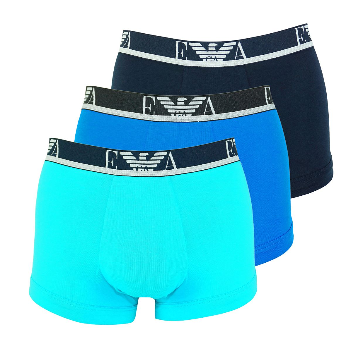 Emporio Armani 3er Pack Shorts Trunk Unterhose 111357 8P715 12583 TURCHES/MARINE/CIELO W18-EATZ1
