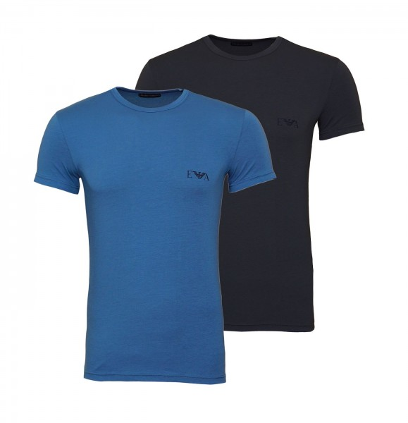 Emporio Armani 2er Pack T-Shirt Crew-Neck 111670 9A715 23444 blau anthrazit SS19-EAT1