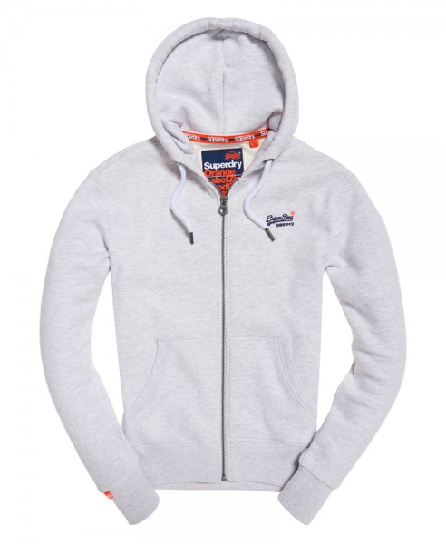 huge discount 41f2d a9485 Superdry Herren Sweatjacke Label Ziphood M20007NS Grau Orange Label  WJ19-SDJ1