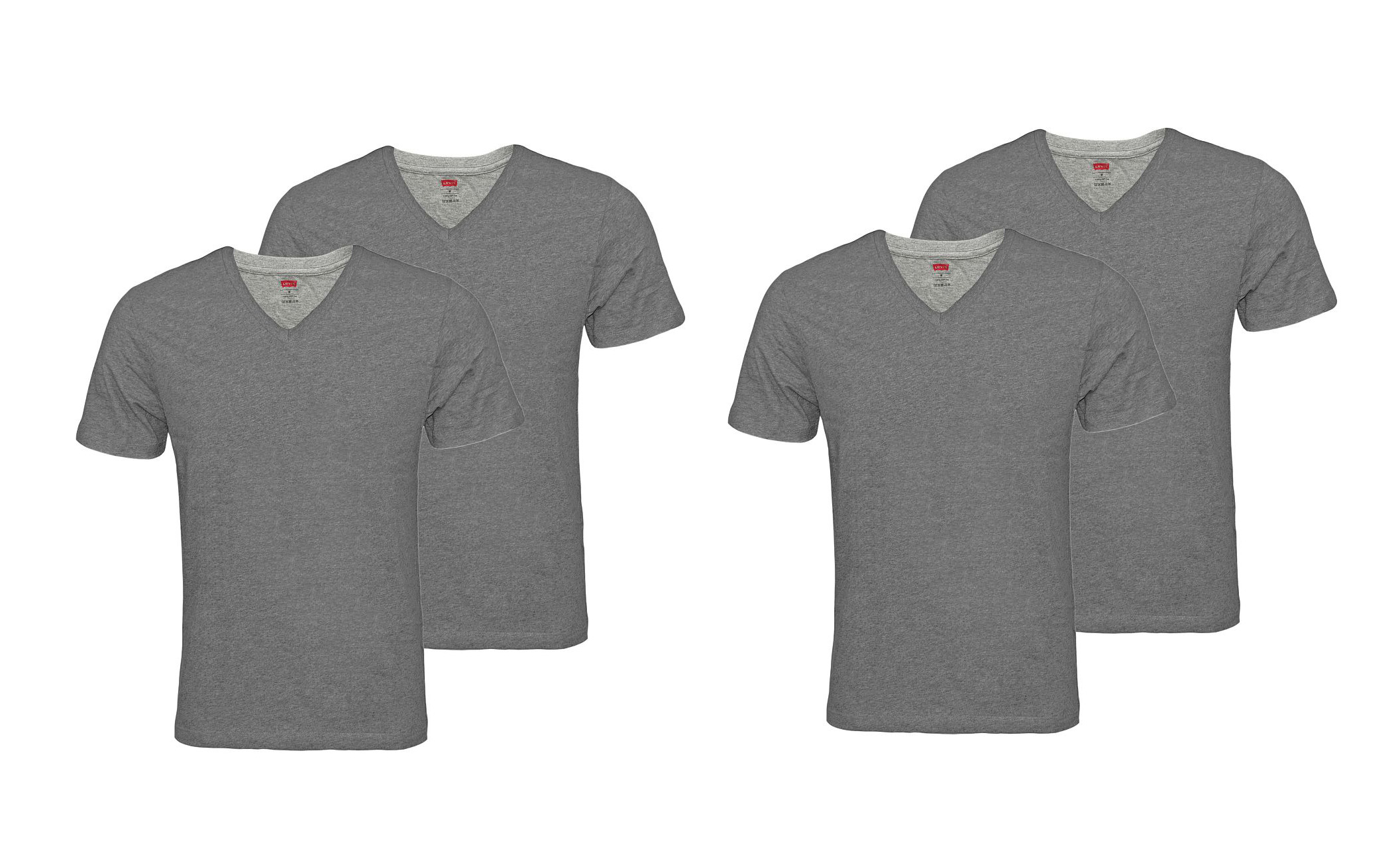 LEVIS Shirts 200SF 2 x 2er Pack T-Shirt 945004001 758 Middle Grey Melange SF17-LVSS2