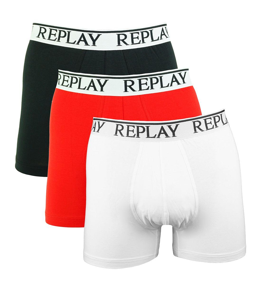 Replay 3er Pack Shorts Boxershorts M605001 E57 schwarz, rot, weiss W18-RY1