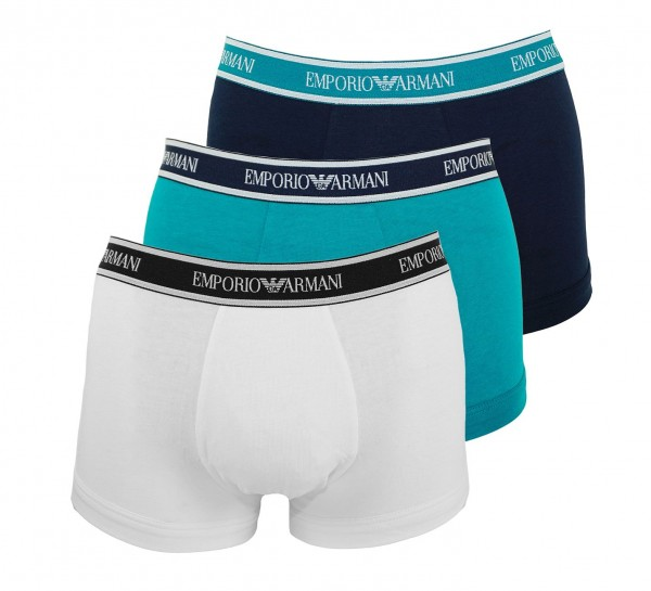 Emporio Armani 3er Pack Trunks Shorts 111357 9P717 19232 OCEANO/MARINE/BIANCO W19-EAT1