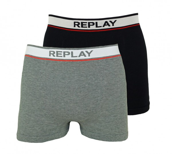Replay 2er Pack Boxer Shorts Unterhosen I101013-001 N149 grey, black WF19-RPT3