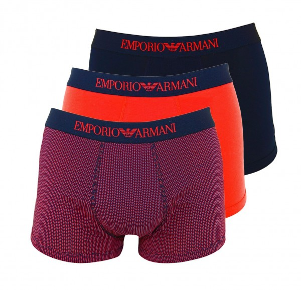 Emporio Armani 3er Pack Trunk 111625 9P722 19173 schwarz, rot FS19-EA3