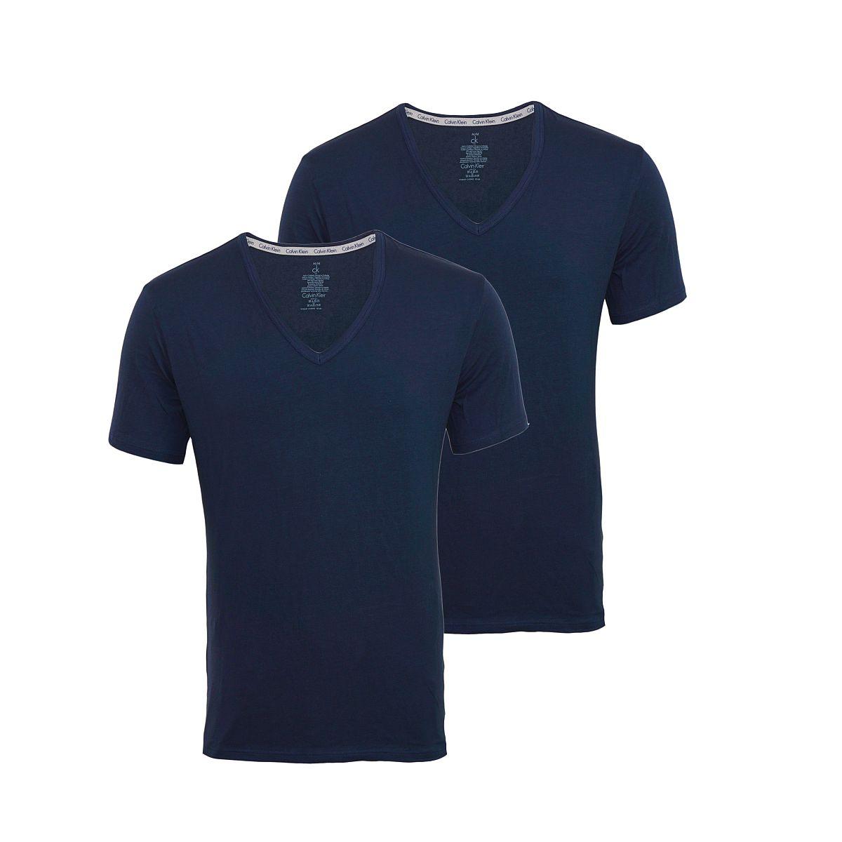Calvin Klein 2er Pack T-Shirts Tee-Shirts CK16 V-Ausschnitt navy