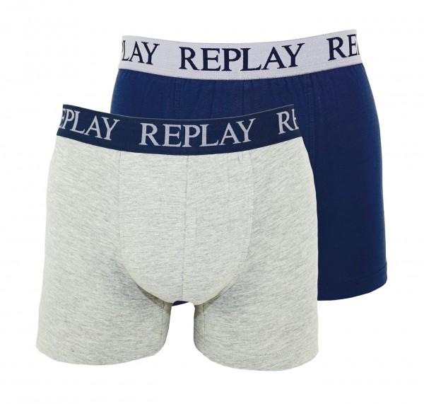Replay 2er Pack Boxer Shorts Unterhosen I101009-V001 N145 grey, blue WF19-RPT2