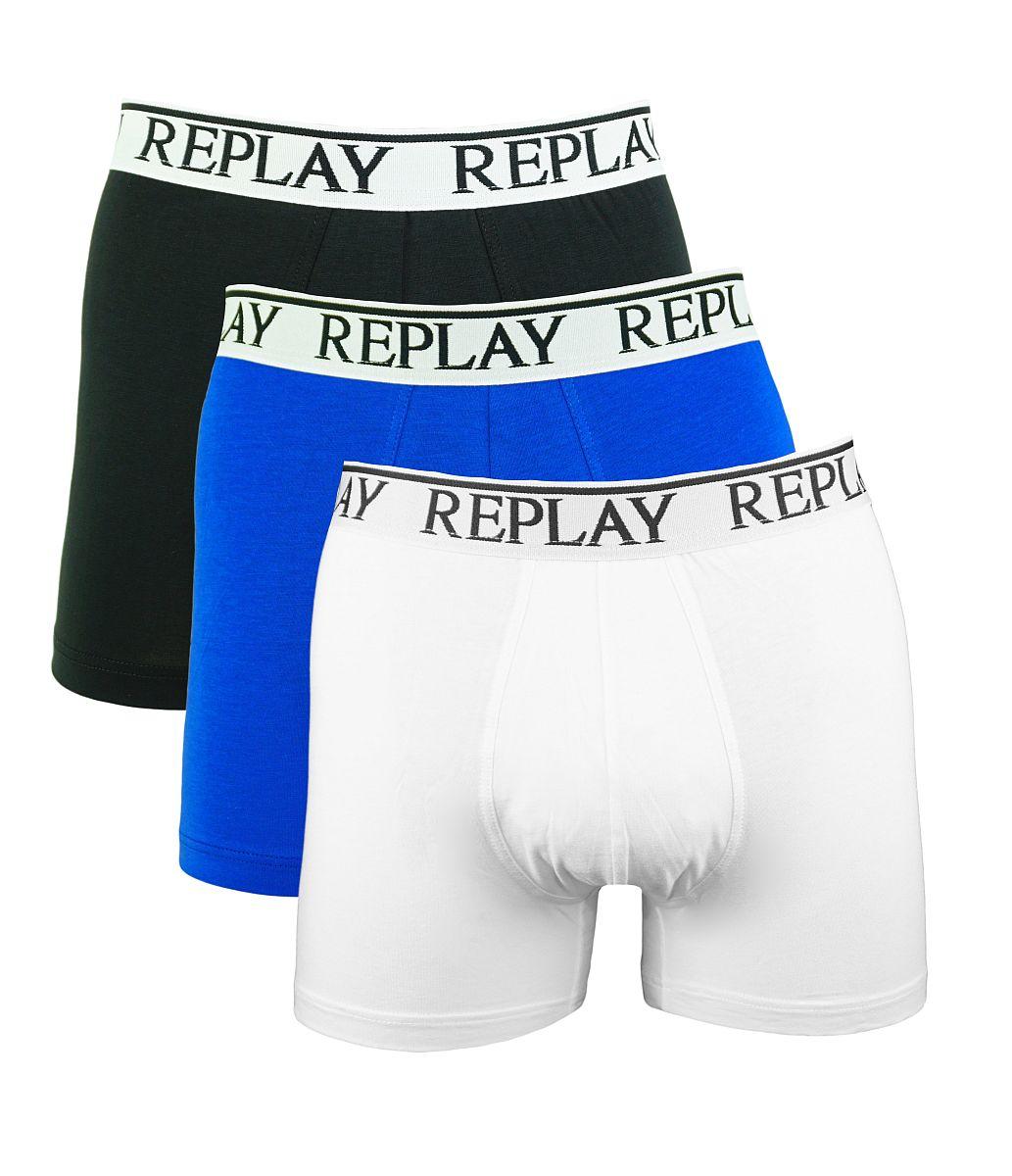 Replay 3er Pack Shorts Boxershorts M605001 E55 schwarz, blau, weiss W18-RY1