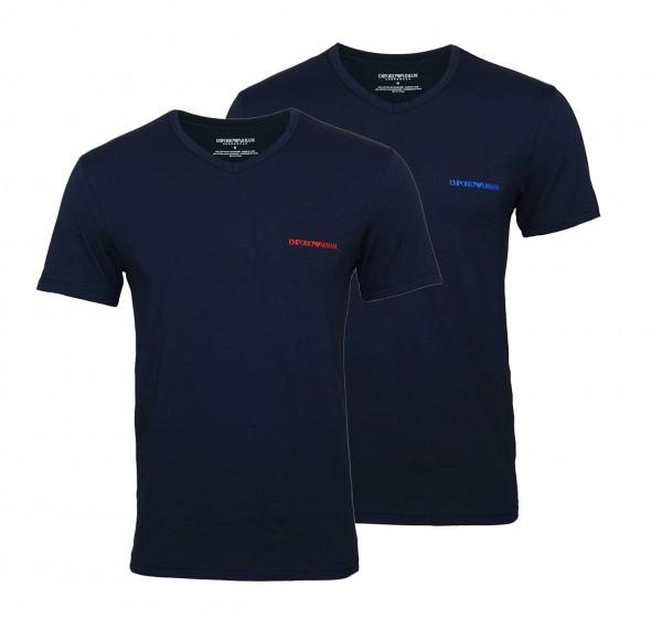 Emporio Armani 2er Pack T-Shirts V-Ausschnitt 111849 9P717 27435 MARINE/MARINE W19-EA2