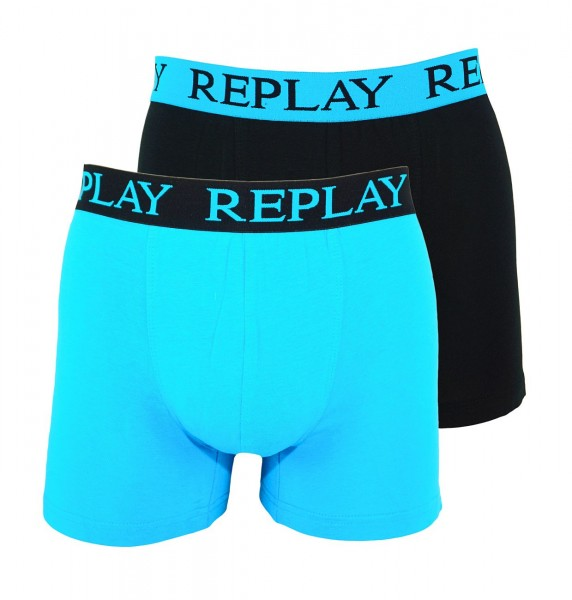 Replay 2er Pack Boxer Shorts Unterhosen I101009-V001 N090 blue, black WF19-RPT2