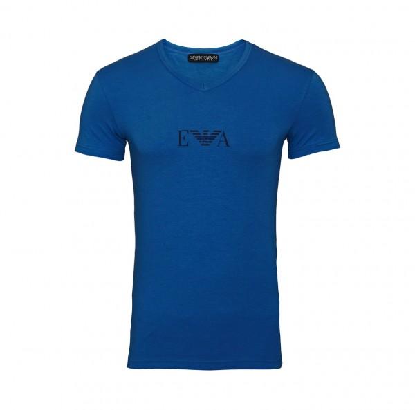 Emporio Armani T-Shirt V-Ausschnitt V-Neck 110810 9A715 16531 blau SS19-EAT1