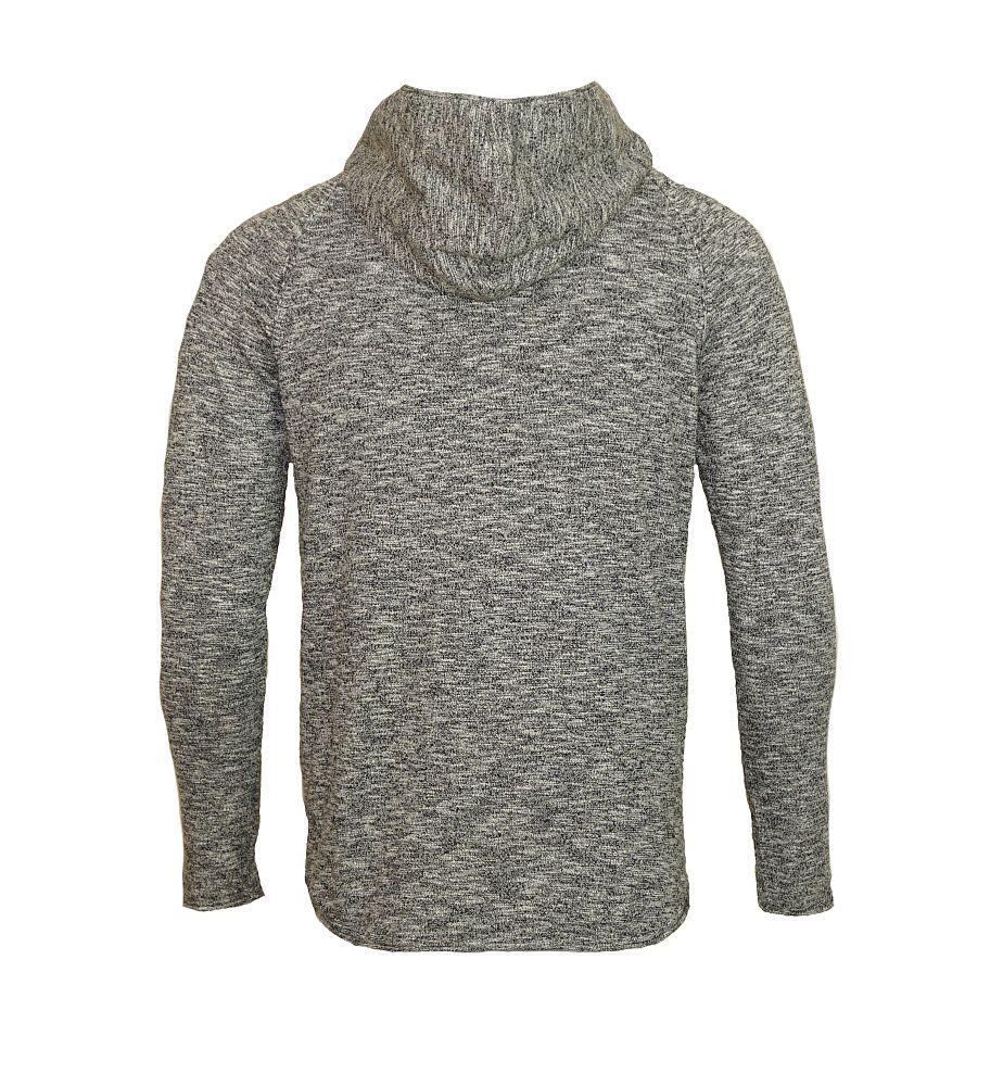 Jack & Jones Pullover jjorMONO Knit Hood black grau schwarz mit Kapuze JJ16