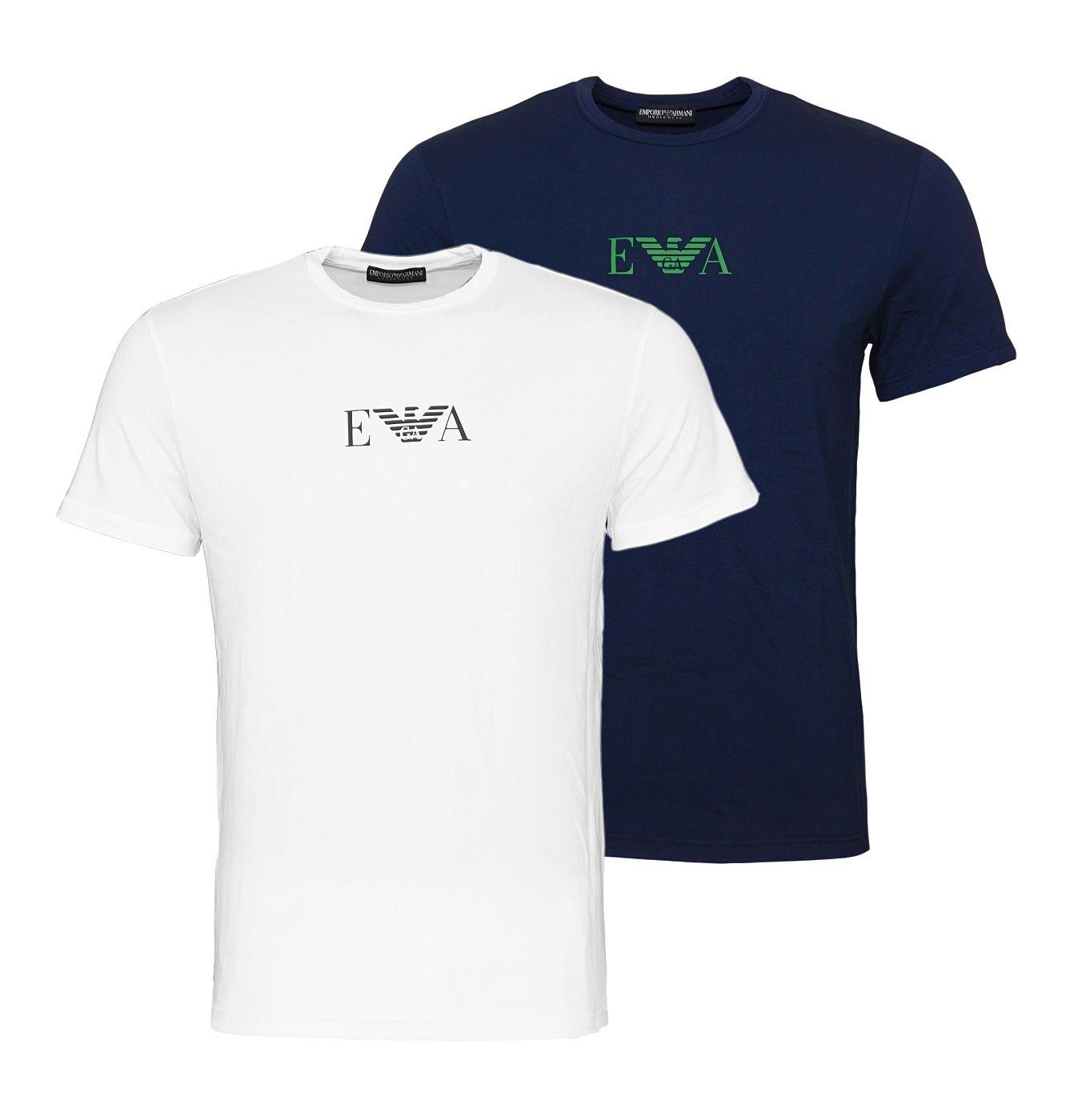 Emporio Armani 2er Pack T-Shirts Rundhals 111267 8A715 17135 MARINE/BIANCO SH18-EAT1