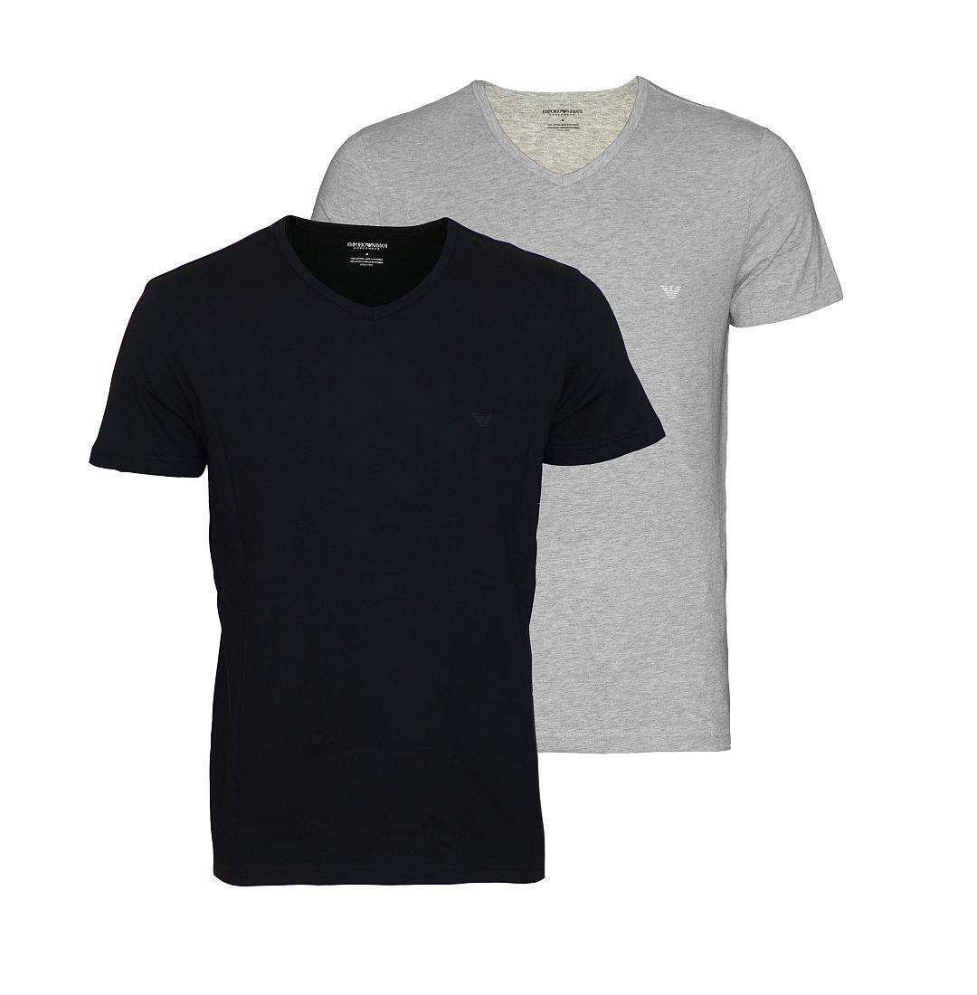 EMPORIO ARMANI 2er Pack Shirt T-Shirt schwarz grau V-Ausschnitt 111648 CC722 97120 HW16