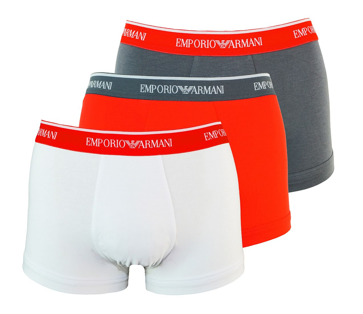 Emporio Armani 3er Pack Trunk Shorts ANTRAC/ROSSO/BIANCO 111357 7P717 17544 WF17-EAT1