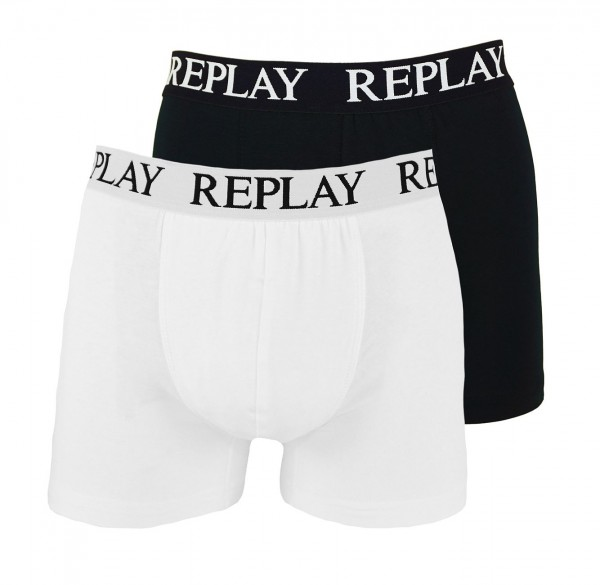 Replay 2er Pack Boxer Shorts Unterhosen I101005-V001 N137 black, white WF19-RPT1