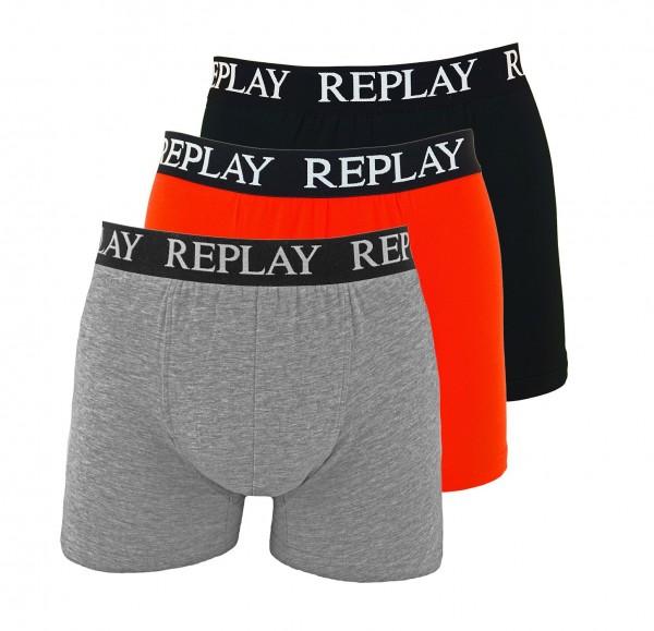 Replay 3er Pack Boxershorts I101102-001 N176 grau, rot, schwarz SS19-RPB1