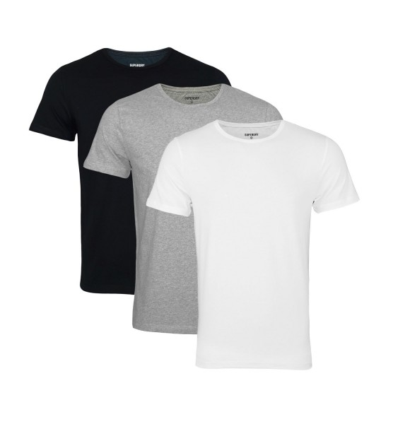 Superdry 3er Pack T-Shirt Rundhals Laundry M3110088A 4IL black, grey, white