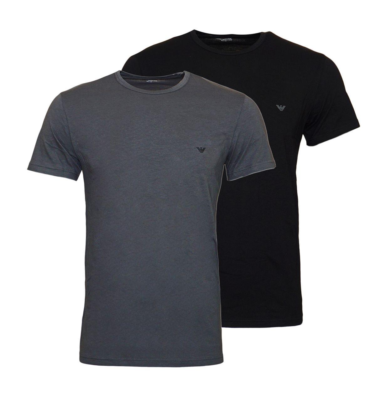 Emporio Armani 2er Pack T-Shirt Rundhals 111267 8A722 41720 NERO/ANTRACITE WX18-EAT