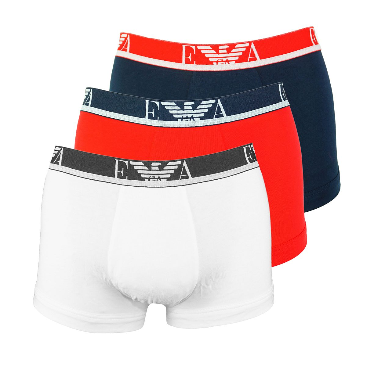 Emporio Armani 3er Pack Shorts Trunk Unterhose 111357 8P715 50710 BIANCO/MAR/TANGO RED W18-EATZ1