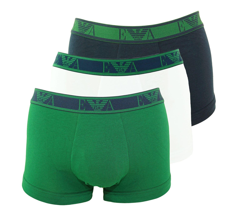 Emporio Armani 3er Pack Trunk Shorts 111357 8A715 54635 MARINE/SMERALDO/BCO SH18-AT1