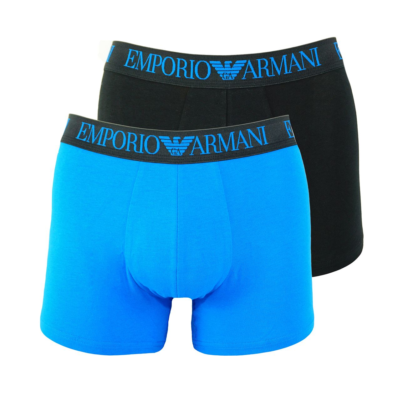 Emporio Armani 2er Pack Trunk Shorts 111769 8P720 03220 NERO/CIELO F18-EAT1