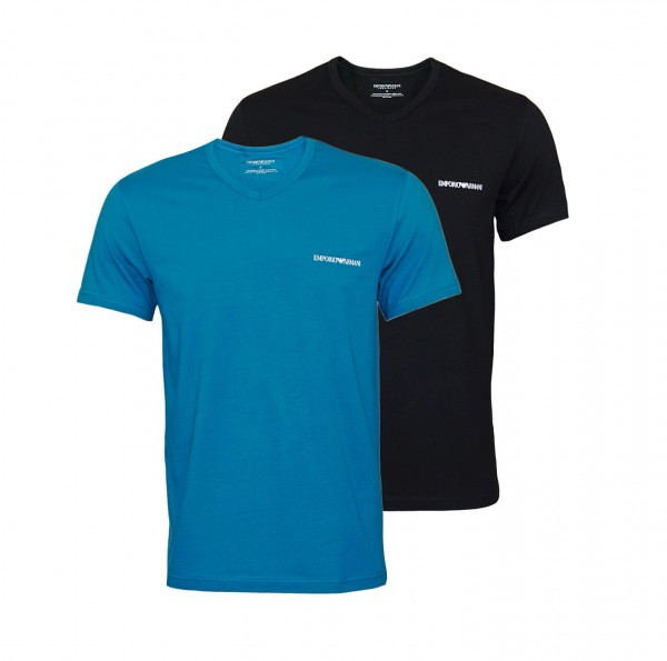 Emporio Armani 2er Pack T-Shirt V-Neck 111849 0P717 19734 black, blue WF20-EA1