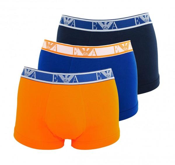 Emporio Armani 3er Pack Trunks Unterhosen 111357 9P715 58535 orange, blau, schwarz WF19-EAT1