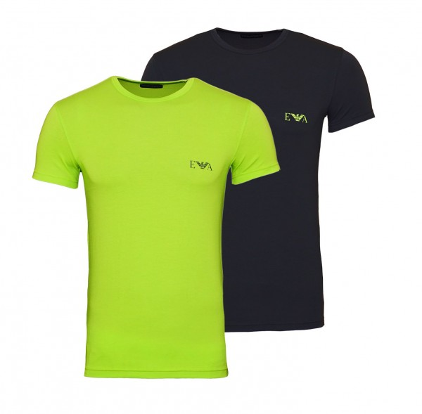 Emporio Armani 2er Pack T-Shirt Crew-Neck 111670 9A715 23344 grün anthrazit SS19-EAT1