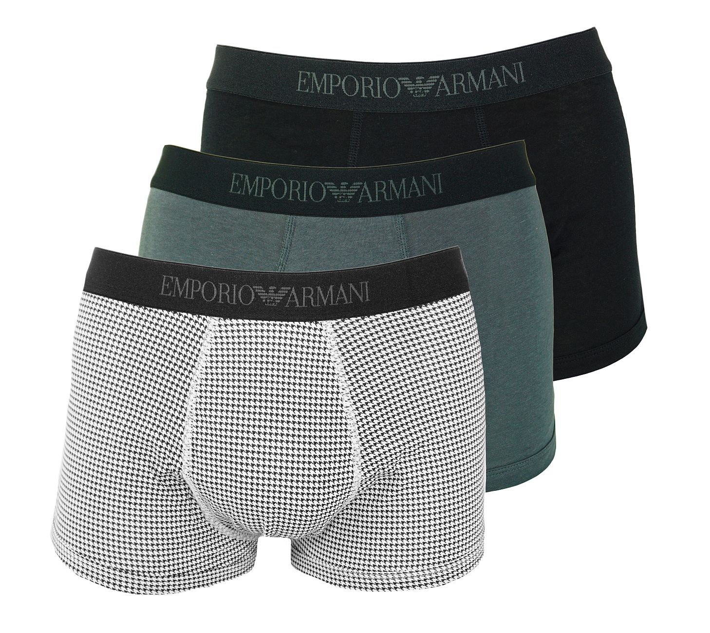 Emporio Armani 3er Pack Trunks Shorts 111625 8A722 60120 NERO/NER.ST/ANTRACIT WX18-EAU