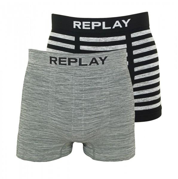 Replay 2er Pack Boxer Shorts Unterhosen I101012-001 N128 grey, black WF19-RPT3