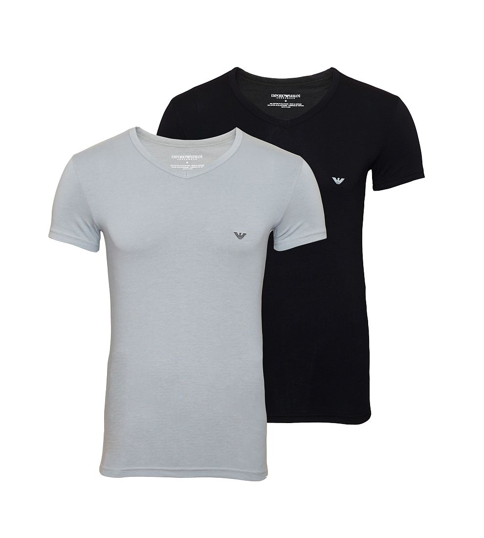 EMPORIO ARMANI 2er Pack Shirts T-Shirts V-Ausschnitt grau schwarz 111512 CC717 03320