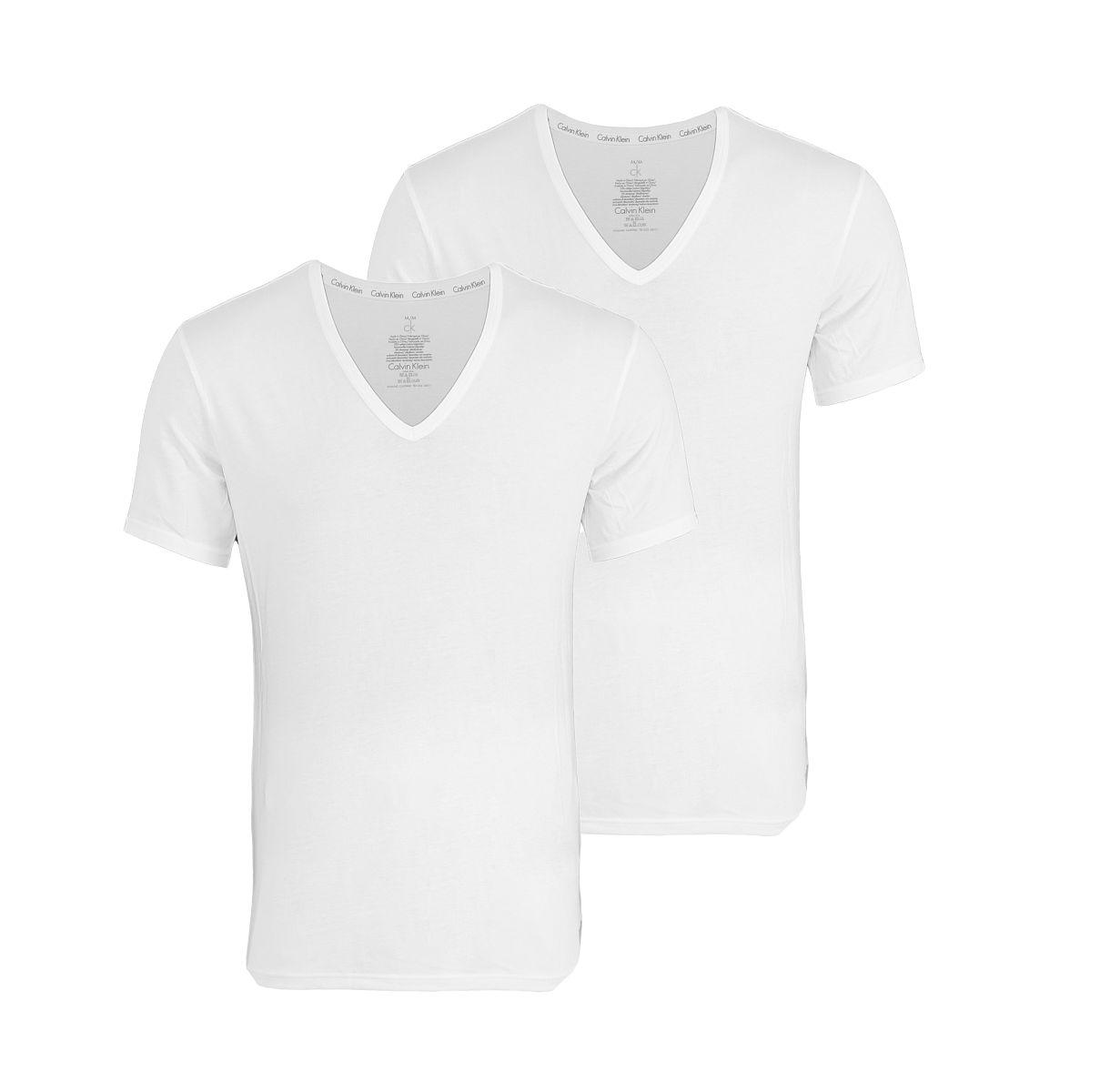 Calvin Klein 2er Pack T-Shirts Tee-Shirts CK16 V-Ausschnitt weiß