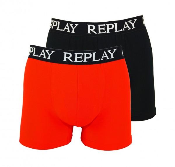 Replay 2er Pack Boxer Shorts Unterhosen I101005-V001 N093 red, black WF19-RPT1