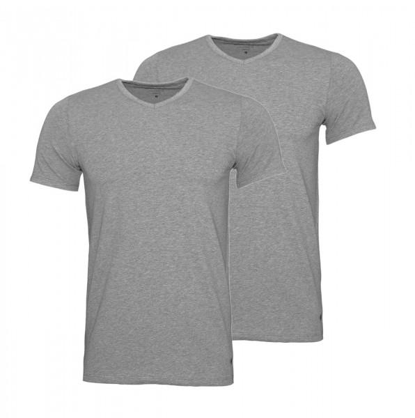 Marc O`Polo 2er Pack T-Shirts Basic Shirts V-Ausschnitt 149804 202 grau WJ19-MPT1