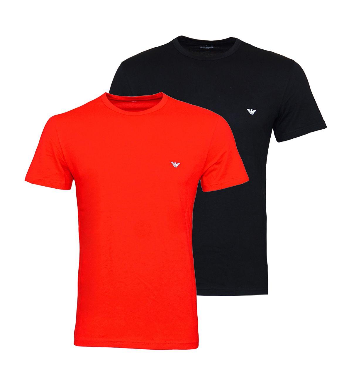 Emporio Armani 2er Pack T-Shirt Rundhals 111267 8P722 40920 NERO/TANGO RED F18-EAT1