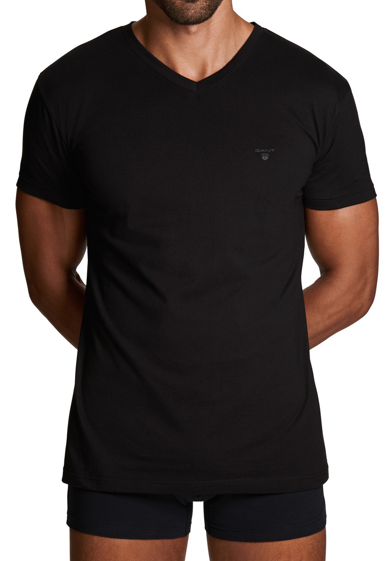 Gant 2er Pack Basic T-Shirts mit V-Ausschnitt 2118 BLACK SH18-GT1